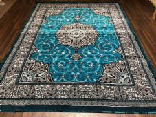 Modern Rugs Approx 9x7ft 270x220cm Woven Thick Sale Top Quality Grey/Teal Blue